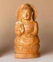 Buddha auf Lotus, segnend, aus Holz ca. 12,5 cm hoch