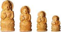 Buddha auf Lotus, segnend, aus Holz ca. 15 cm hoch