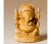 Ganesha aus Buchsbaumholz, offen, hell, 7,5 cm