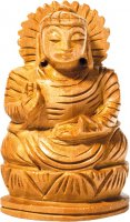 Holz - Buddha auf Lotus, segnend, ca 5 cm