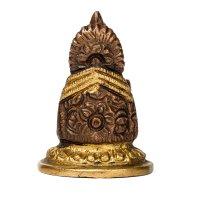 Ganesha aus Messing, sitzend, 2 farbig ca. 5 cm