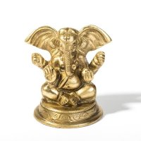 Ganesha, sitzend mit rundem Sockel, ca 7,5 cm