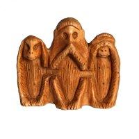 3 Weisheitsaffen aus Holz, klein, hell, ca. 4,5 cm hoch