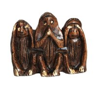 3 Weisheitsaffen aus Holz, klein, dunkel, ca. 4,5 cm hoch