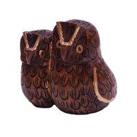 Holz - Eulenpaar, dunkel, ca 5 cm