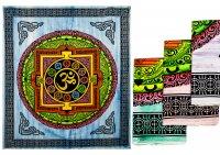 Tagesdecke - Om mit Chakren,teils  handebmalt, 250 x 220 cm