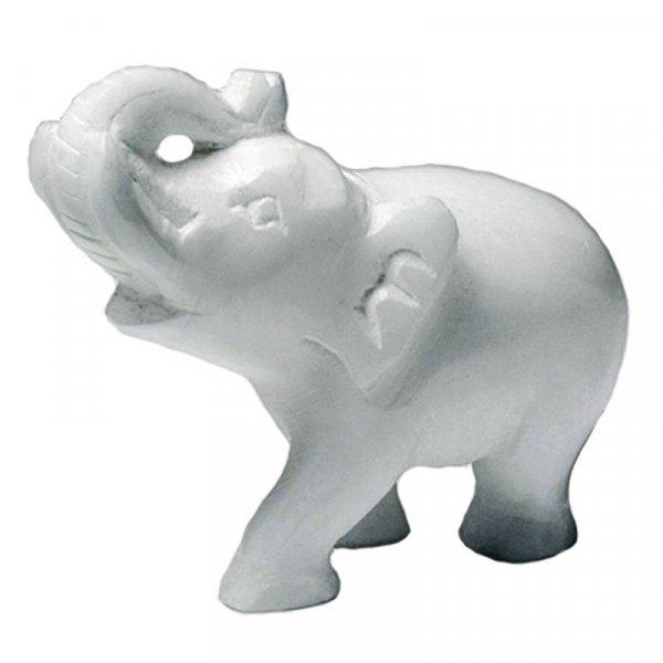 Elefant aus Alabaster, grüßend  ca 6,25 cm