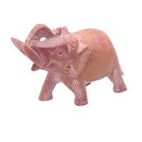 Speckstein - Elefant, Rüssel hoch, ca. 7,5 cm.