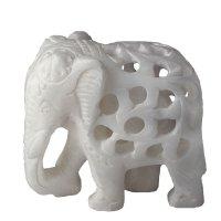 Alabaster- Elefant in Elefant, Rüssel unten, ca 5 cm