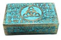 "Box - ""Celtic"" aus Mangoholz, ca. 20x15 cm, Blau"