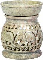 Duftlampe aus Speckstein mit Elefantenmotiven ca. 11 cm