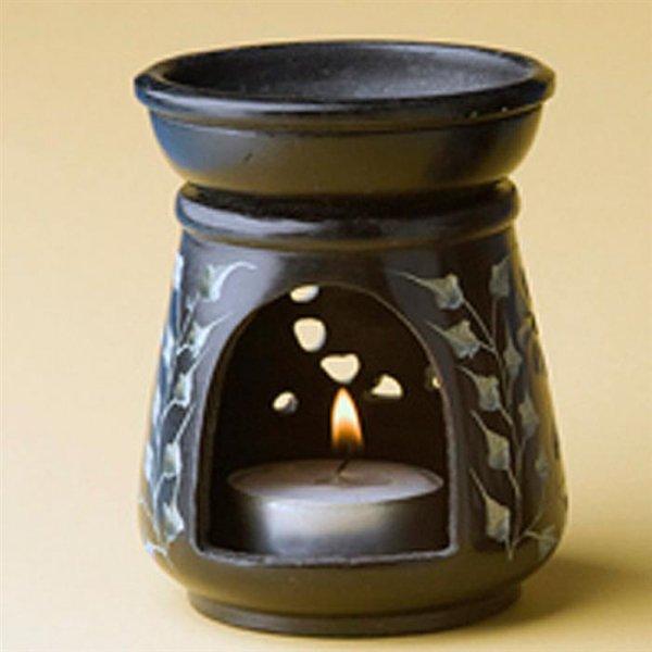 Duftlampe Schwarz mit Sonne, ca 9 cm.