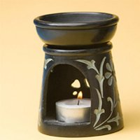 Duftlampe Schwarz mit Elefant, ca 7,5cm