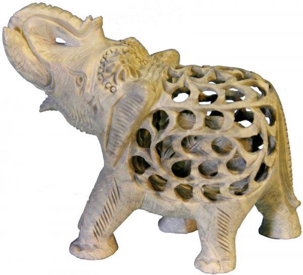 Babyelefant in Elefant aus Speckstein, grüßend, ca 12 cm