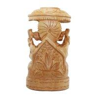 Ganesha auf Thron aus Holz, hell, ca. 10 cm hoch