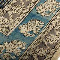 Kalamkari Tuch 110x110cm, Blau mit Elefanten
