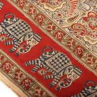 Kalamkari Tuch 110x110cm, Rot-Weiß, Pesley mit...