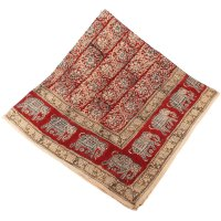 Kalamkari Tuch 110x110cm,Rot mit Elefanten