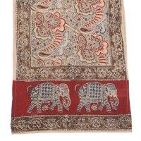 Kalamkari Schal 35x180cm, Rot mit Elefanten