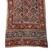 Kalamkari Schal 35x180cm, Blau-Rot, Blumenmotiv
