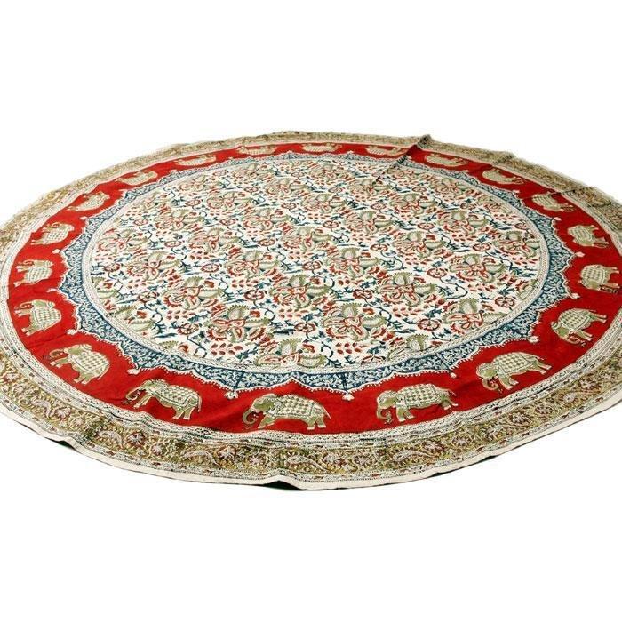 kalamkari tischdecke rund 150cm indischer gro handel india basar. Black Bedroom Furniture Sets. Home Design Ideas