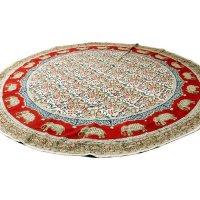 Kalamkari- Tischdecke rund 150cm, Rot mit Elefanten