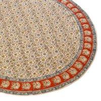Kalamkari- Tischdecke rund,150cm, Rot mit Pfauen