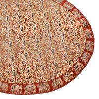Kalamkari Tischdecke oval 120x160cm, Rot mit Elefanten