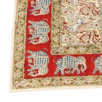 Kalamkari Tischdecke 90x130cm, Rot mit Elefanten