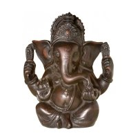 Ganesha aus Polyresin, dunkel, ca 12 cm