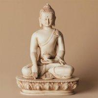 Buddha aus Polyresin, hell, 14 cm hoch