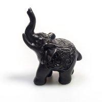 Elefant aus Polyresin, dunkel, Rüssel hoch, ca. 7,5...