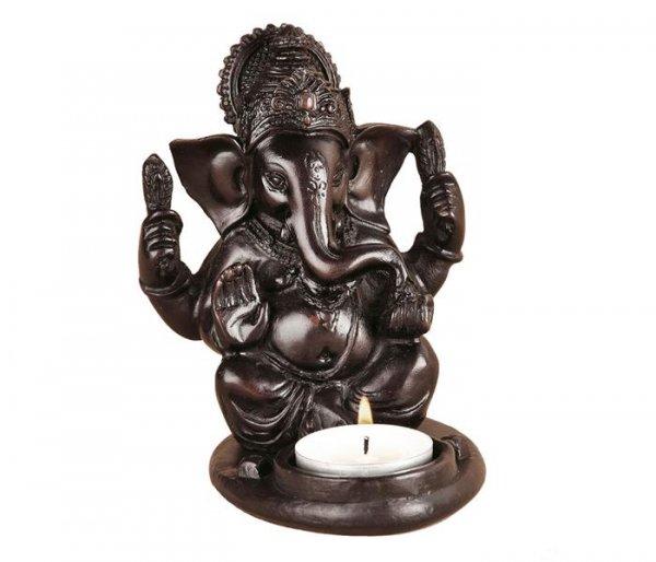 Teelichthalter Ganesha aus Polyresin, dunkel, ca. 12 cm