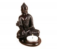 Medizinbuddha aus Polyresin Teelichthalter, 12 cm