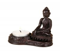 Teellichthalter mit Buddha, dunkel, ca 10x7 cm