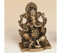 Ganesha auf Thron aus Messing