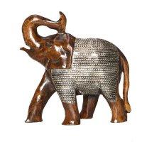 Elefant aus Holz dunkel, verziert mit Metallnetz 12 cm