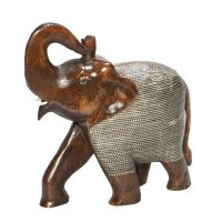 Elefant aus Holz mit Metallnetz, dunkel, ca 17 cm