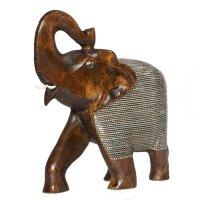 Elefant aus Holz mit Metallnetz, dunkel,  20 cm