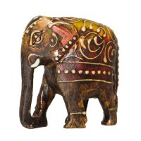 Elefant, Rüssel unten, handbemalt, 7,5 cm