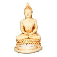 Teelichthalter mit Buddha, hell, ca. 14 cm hoch
